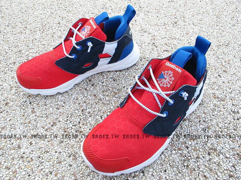 Shoestw【BD2429】Reebok FuryLite 中童鞋 免綁帶 紅藍白 撞色 蜂巢