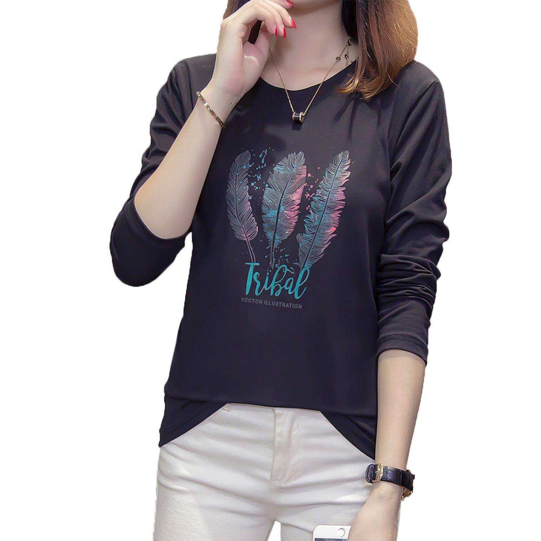 棉T--自然簡約風手繪羽毛與英字撞色印花寬鬆圓領長袖T恤(黑.粉M-3L)-F137眼圈熊中大尺碼 0