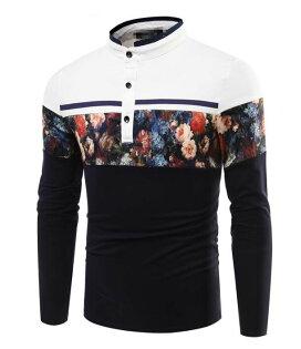 FINDSENSEZ1日系流行男時尚大碼翻領拼色花朵長袖T恤上衣特色長T襯衫POLO衫