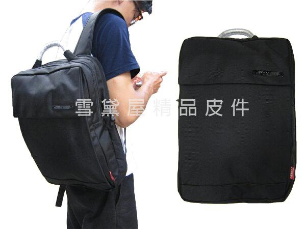 ~雪黛屋~ZOLO後背包中容量二層主袋防水尼龍布材質可A4資料夾14吋電腦胸前釦+安全哨上班上學休閒014S7049