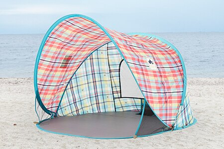 【露營趣】中和 附手電筒 LOGOS LG71809011 愛麗絲迷你格紋輕鬆拋帳 海灘帳 沙灘帳 遊戲帳 野餐遮陽帳