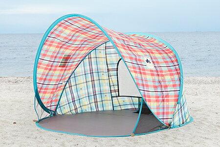 露營趣:【露營趣】中和附手電筒LOGOSLG71809011愛麗絲迷你格紋輕鬆拋帳海灘帳沙灘帳遊戲帳野餐遮陽帳