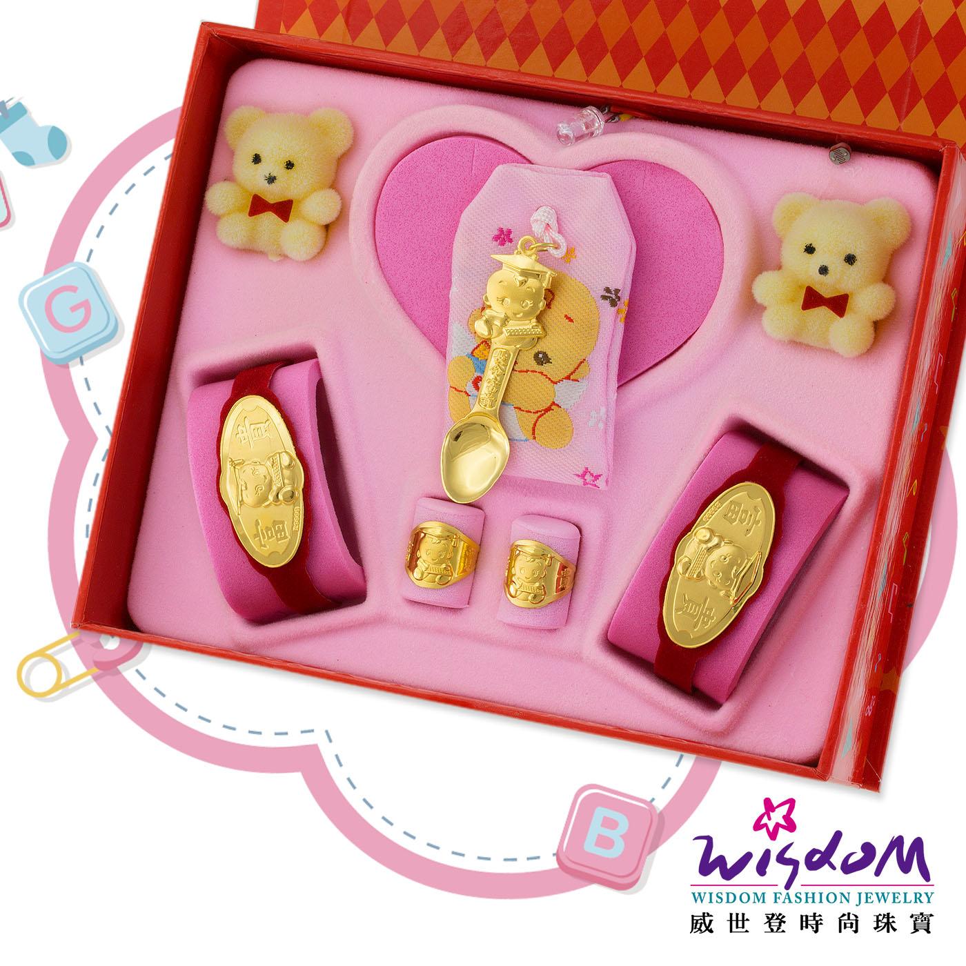 999.9黃金彌月音樂禮盒 博士湯匙五件組0.3錢-GP00009-16-GXX-FIX