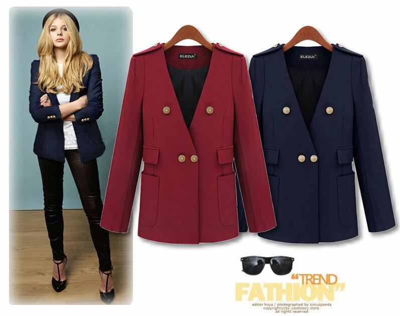 【紐約七號】A1074 歐美大尺碼 早春新款 時尚簡約風修身長袖小西裝外套 2色 XL~5XL