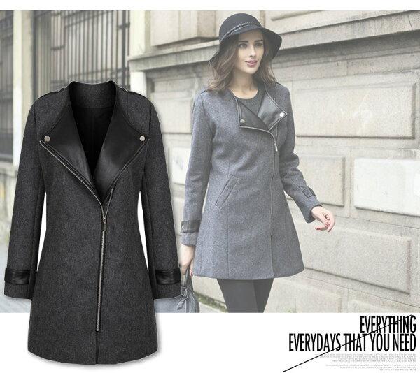 【紐約七號】A1090 歐美大尺碼 秋季新款 時尚翻領拼皮中長款修身外套 L~6XL