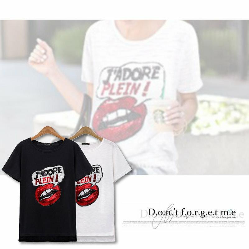 【紐約七號】A1-158 歐美大尺碼 春夏新品 亮片性感唇印圓領短袖T恤上衣 2色 XL~5XL