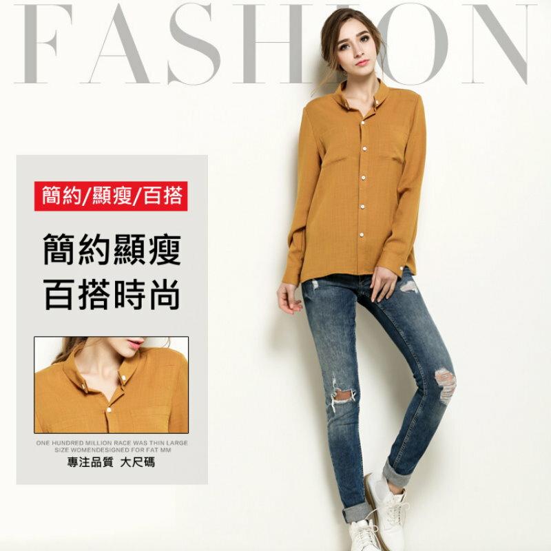 大尺碼 歐美時尚素色棉麻長袖襯衫XL~5XL【紐約七號】A1-238