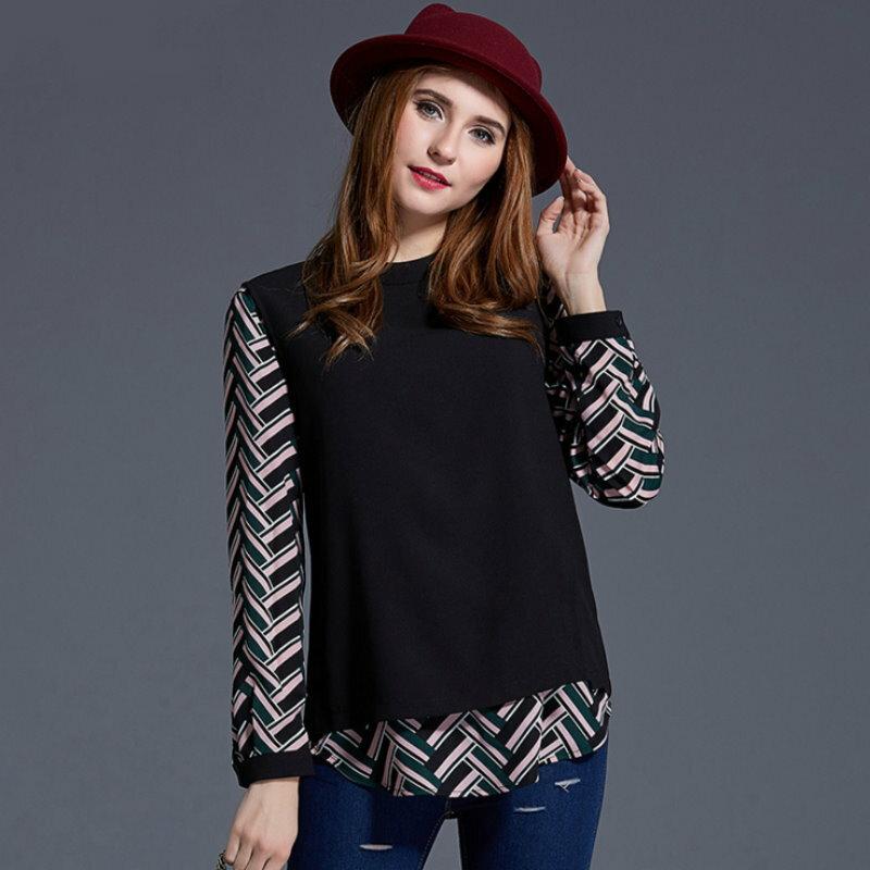 大尺碼 歐美時尚幾何圖形撞色拼接假兩件長袖上衣XL~5XL【紐約七號】A2-399