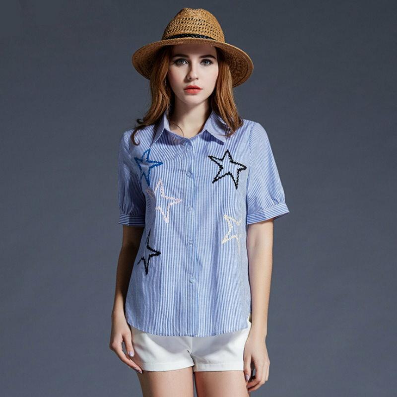 大尺碼 歐美休閒直條紋星星短袖襯衫XL~5XL【紐約七號】A2-418