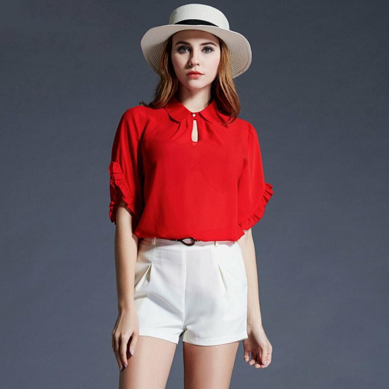 大尺碼 歐美時尚性感挖洞翻領短袖雪紡衫XL~5XL【紐約七號】A2-427
