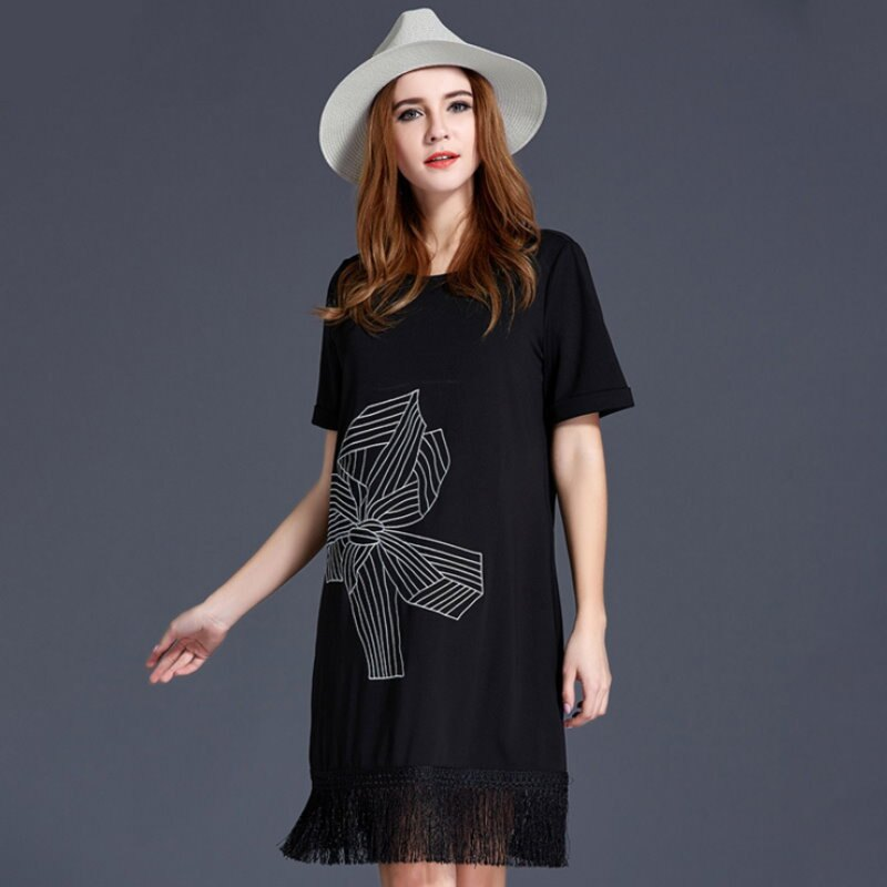 大尺碼 歐美時尚百搭休閒瘦顯印花流蘇下擺連衣裙洋裝XL~5XL【紐約七號】A2-428