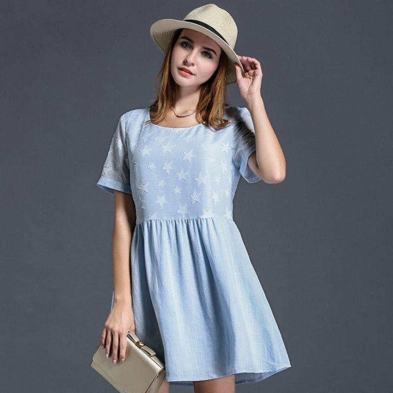 大尺碼 歐美時尚星星提花氣質可愛連衣裙洋裝XL~5XL【紐約七號】A2-438