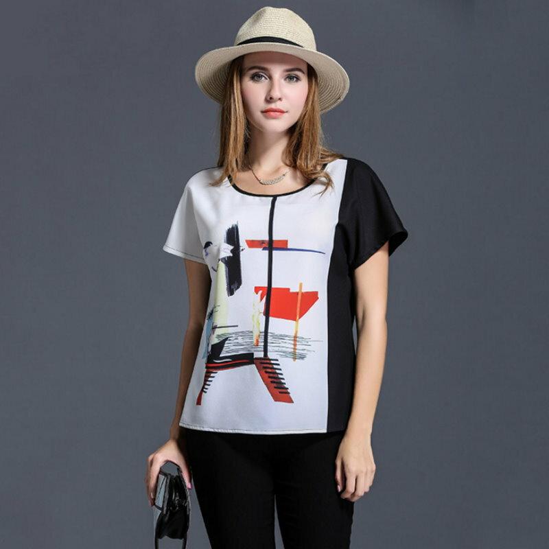 大尺碼 歐美時尚簡約俐落撞色印花雪紡短袖T恤XL~5XL【紐約七號】A2-441