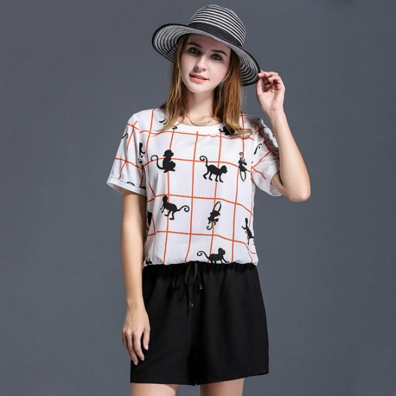大尺碼 歐美可愛猴子印花格子圓領短袖T恤XL~5XL【紐約七號】A2-462