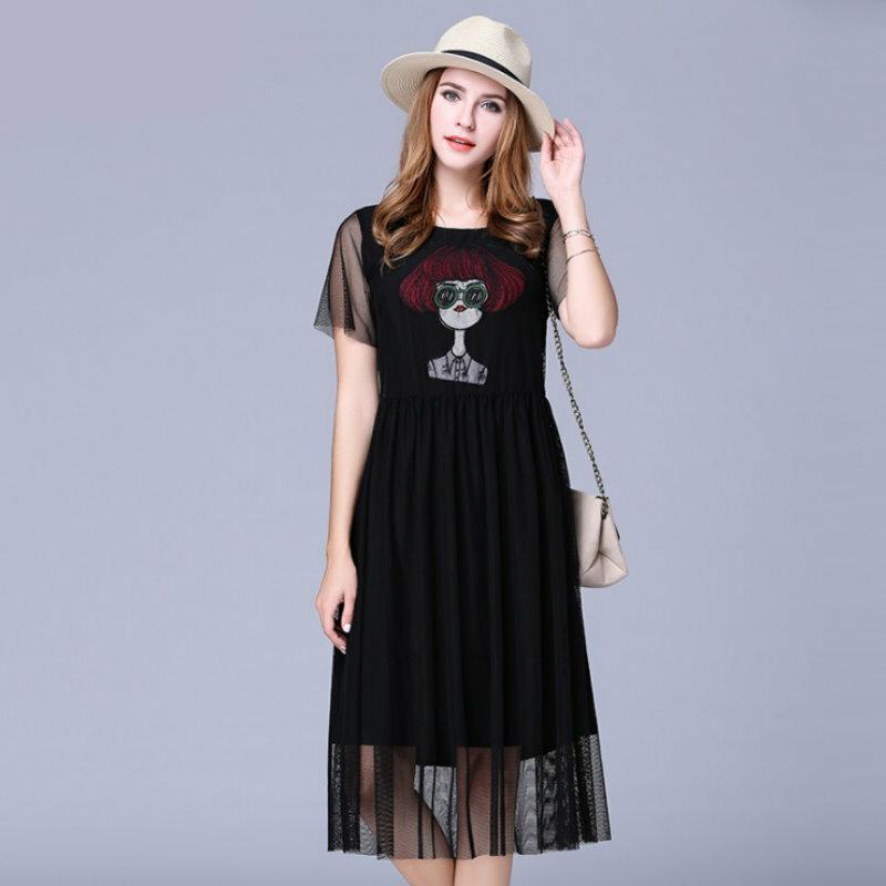 大  短袖女孩刺繡網紗拼接雪紡連衣裙洋裝XL^~5XL~紐約七號~A2~474