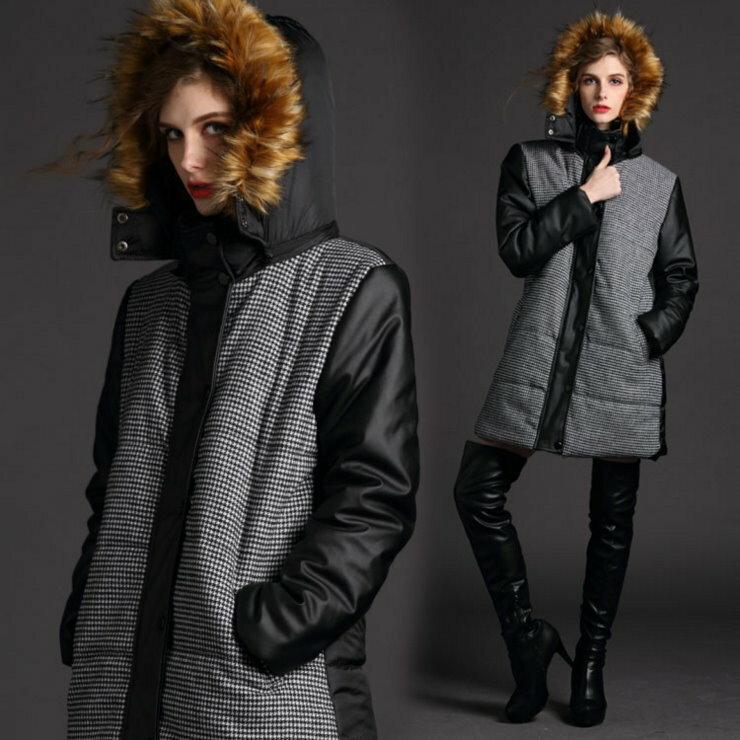 大尺碼 歐美時尚寬鬆千鳥格毛領長款連帽羽絨外套【紐約七號】A6-004