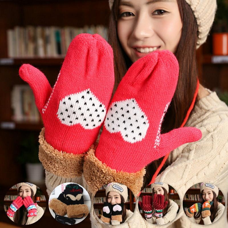 小鹿聖誕樹愛心鬍子加厚保暖五指手套5款【紐約七號】C-A45
