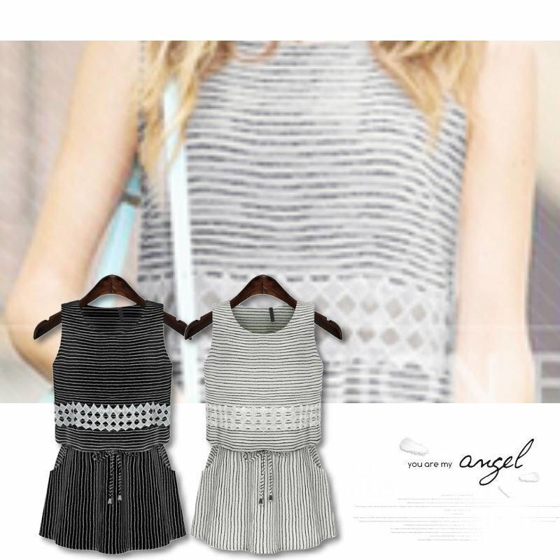 【紐約七號二館】LG-078 非正韓 歐美大尺碼 時尚條紋無袖圓領收腰連衣裙洋裝 2色 S~XL