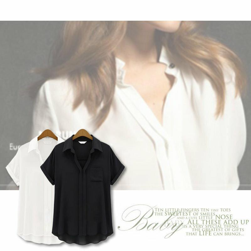 【紐約七號】LG-127 歐美大尺碼 春季新品 時尚百搭休閒素色翻領口袋襯衫T恤上衣 2色 XL~5XL