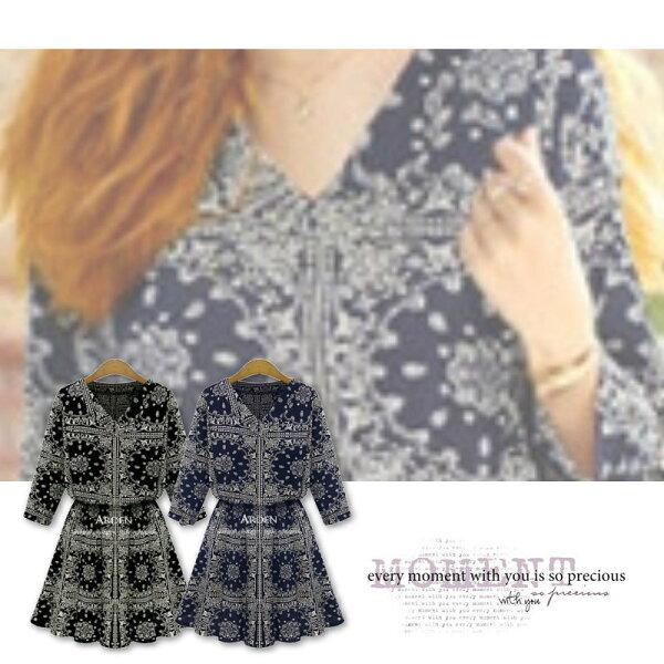 【紐約七號】LG-137 歐美大尺碼 夏季新品 時尚圖騰印花收腰中袖洋裝連衣裙 XL~5XL