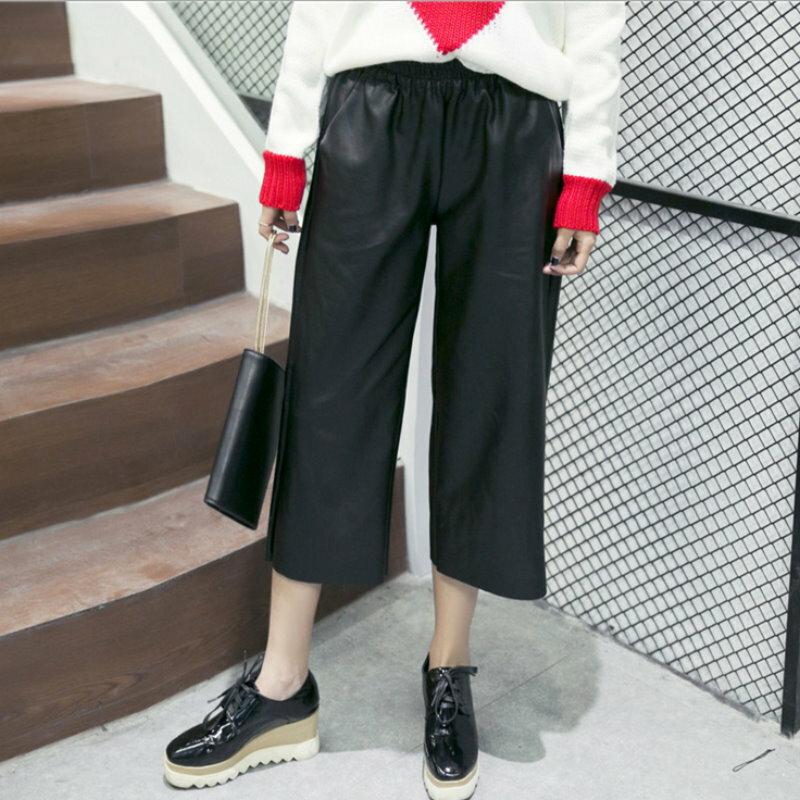 韓版 歐美風鬆緊腰仿PU皮褲七分寬褲【紐約七號】Z-1616