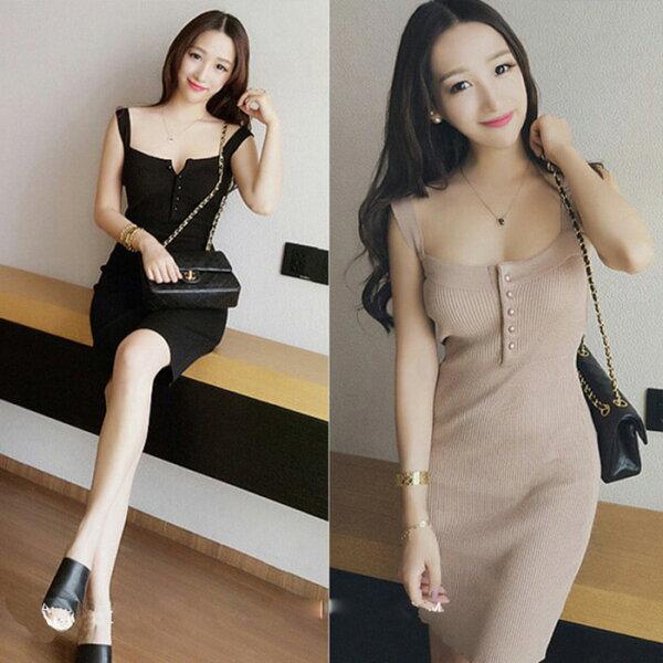糖衣子輕鬆購【GH4725】韓版時尚性感低胸包臀針織吊帶連身裙