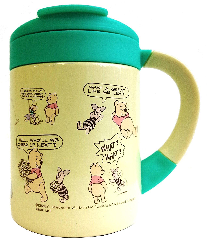 X射線【C420999】維尼真空保溫附蓋杯(黃綠)280ml,隨手瓶/保溫杯/直飲式水壺/保冷保溫/環保