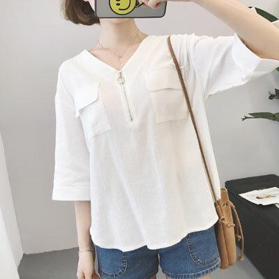 短袖襯衫 簡約知性雙口袋拉鏈短袖襯衫 2色 【S-17-0036】LYNNSHOP