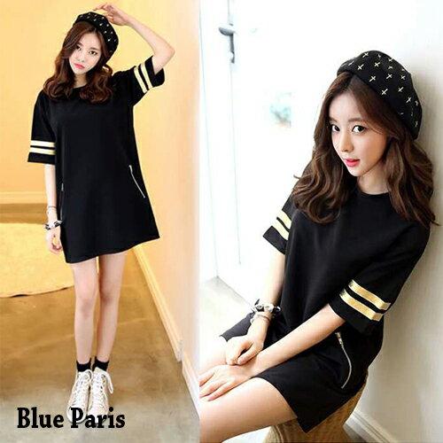 T恤 燙金雙拉鍊口袋長版短袖上衣 洋裝【28076】Blue Paris