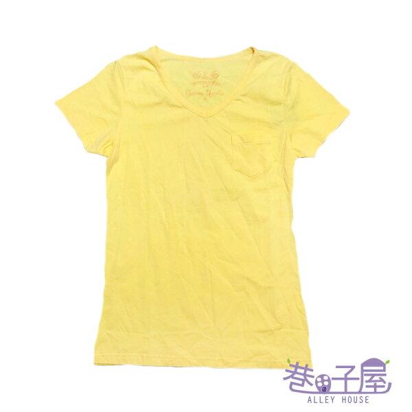 【巷子屋】GAOMA高馬女款小V領口袋造型素T-SHIRT[41624]黃超值價$198