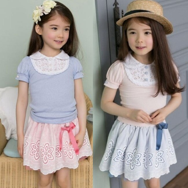 ~貝貝樂SHOW~ 韓國品牌甜心公主淑女氣質鏤空花邊翻領短袖上衣^~如圖粉色、淺藍色^~9