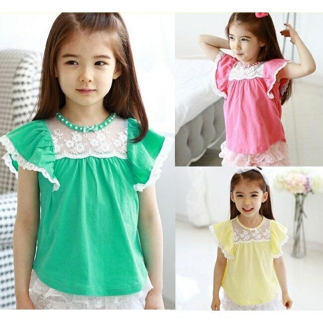 ~貝貝樂SHOW~ 最IN款韓國甜美公主 ^~圓領荷葉蕾絲邊袖蕾絲洋裝上衣^~玫紅、黃色、