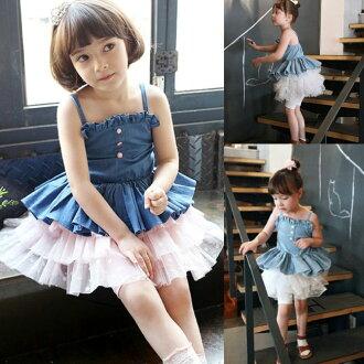 ★貝貝樂SHOW★夏季韓國甜心公主俏麗涼爽細肩帶大百摺牛仔蕾絲洋裝裙~淺藍色、深藍色
