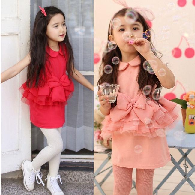 ~貝貝樂SHOW~韓國公主 淑女氣質雪紡大蝴蝶結層層蛋糕^~Q彈洋裝裙^~紅色、粉色 ~
