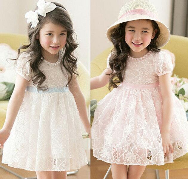 ~貝貝樂SHOW~ 韓國公主高貴珍珠圓領鏤空蕾絲紗洋裝禮服^~粉色.白色 ~  好康折扣