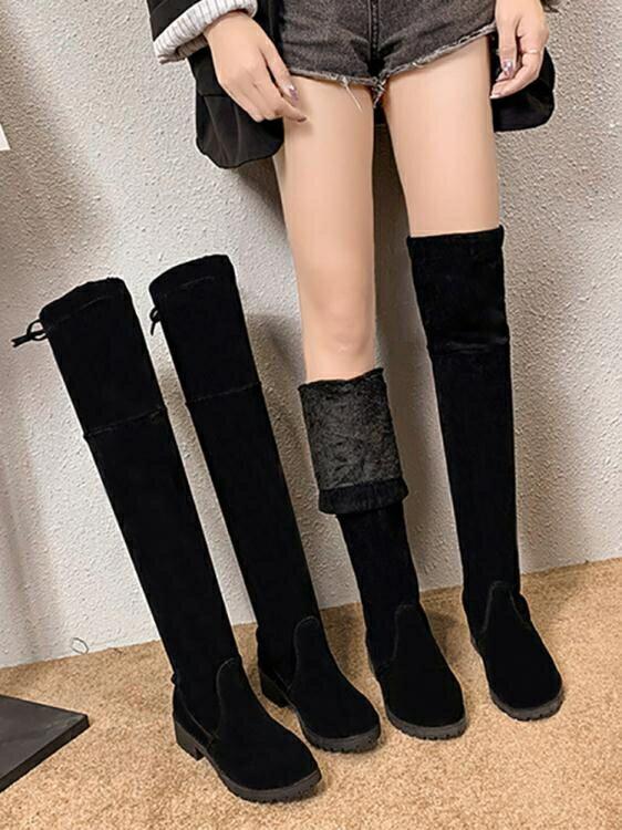 過膝靴女鞋秋冬新款粗跟百搭長筒靴粗跟高筒彈力瘦瘦女靴子潮