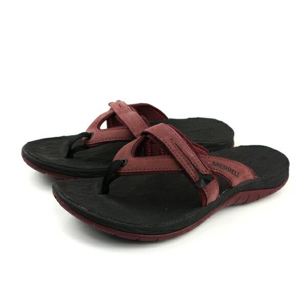 MERRELLSIRENFLIPQ2夾腳拖鞋人字拖深紅色女鞋ML12720no917
