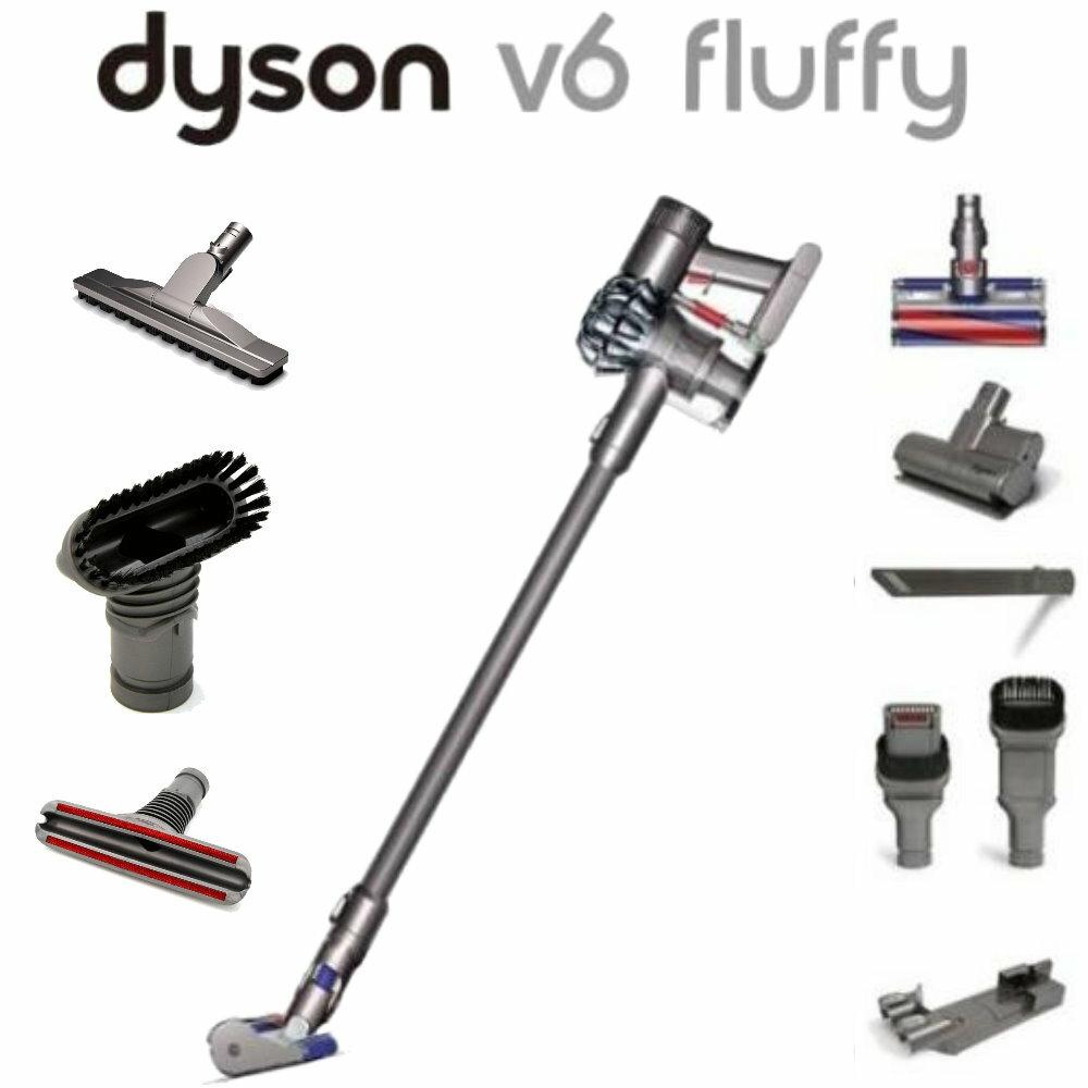 Dyson V6 fluffy 手持無線吸塵器 原裝完整七吸頭(含2個電動吸頭、床墊吸頭、木地板吸頭....) (同台灣戴森)