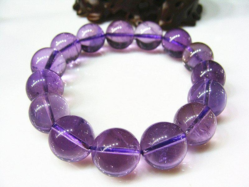 紫水晶手鏈 紫色水晶手鏈 14MM 大氣優雅 神秘水晶手鏈