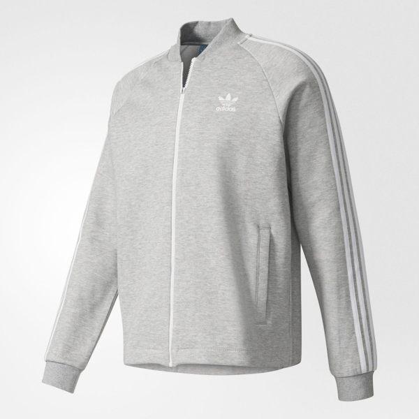 Adidas Superstar Premium 男裝 外套 立領 棉質 吳亦凡 鋼印 灰 【運動世界】 BK7219