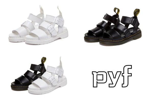 Pyf♥馬丁款羅馬情侶款涼鞋黑白一字扣厚底4344大尺碼女鞋