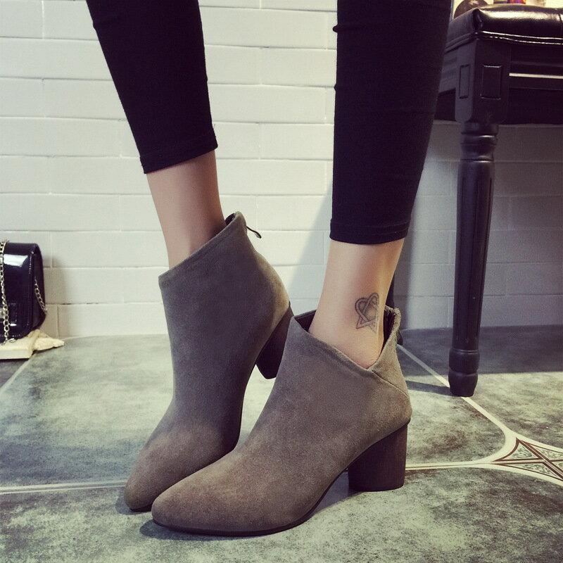 歐美2016新款秋冬短靴時尚側V顯瘦粗跟後拉鍊磨砂皮黑卡其色英倫風騎士靴