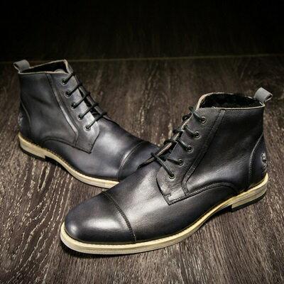 中筒靴真皮繫帶靴子-英倫時尚擦色馬丁男靴2色73kk18【獨家進口】【米蘭精品】
