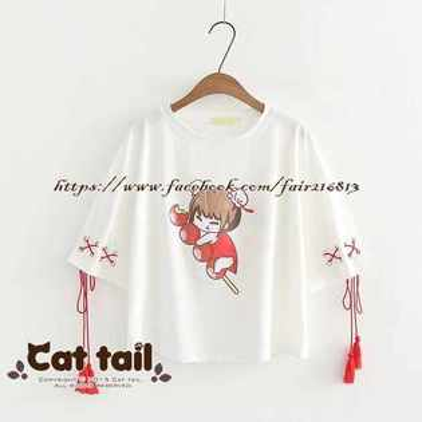 《貓尾巴》TS-0902俏皮可愛卡通少女印花短袖T恤(森林系日系棉麻文青清新)