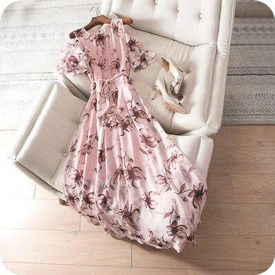 連身裙露肩連衣裙-粉嫩花朵浪漫氣質女上衣73sz29【獨家進口】【米蘭精品】