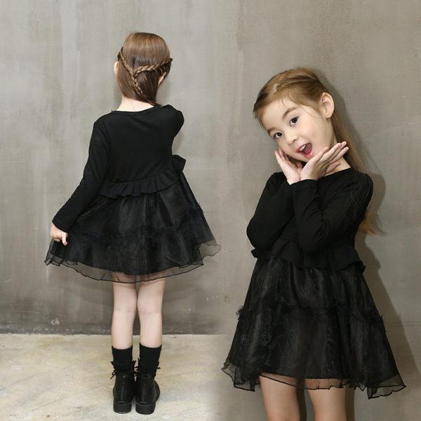 女童長袖洋裝 紗紗連身裙 公主裙 小禮服  寶寶童裝 MS9301 好娃娃