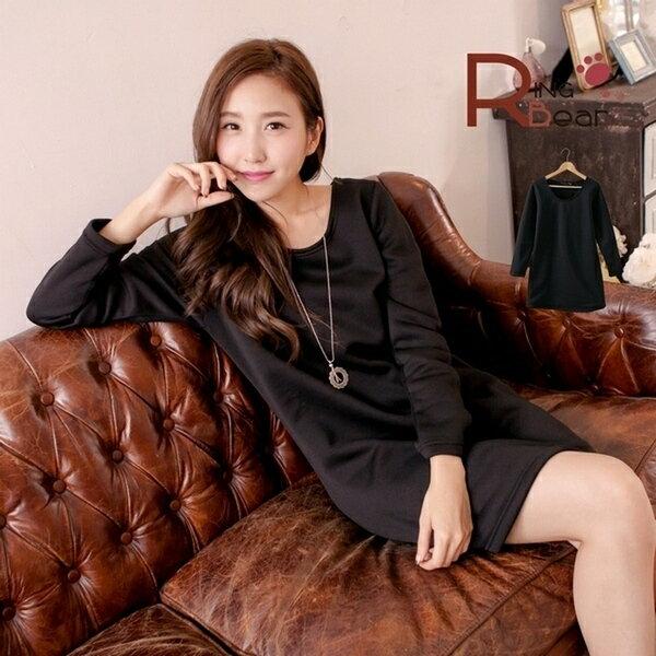 長版上衣~~舒適保暖素面刷毛長袖圓領長上衣  洋裝 黑M~XL ~A185眼圈熊中大