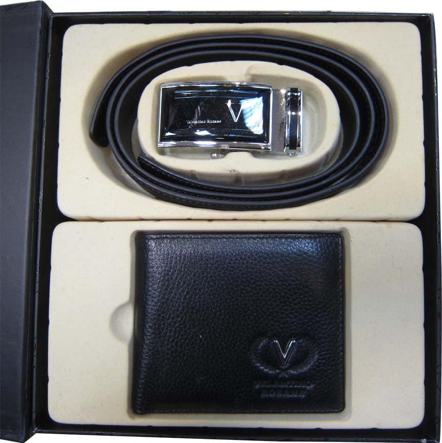 ~雪黛屋~Velamtino禮盒皮夾+皮帶高級禮盒進口專櫃100%進口皮革紳士自動釦皮帶+短夾送禮首選VR700-001