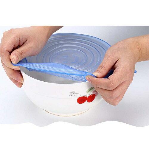 萬用彈性 矽膠保鮮膜 碗蓋 密封蓋 6入組(直徑6.5~20.5CM)(顏色隨機) [大買家] 4