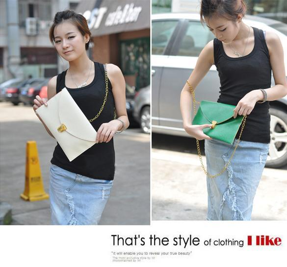 Women Synthetic Leather Golden Chain Envelope Purse Clutch Handbag 3